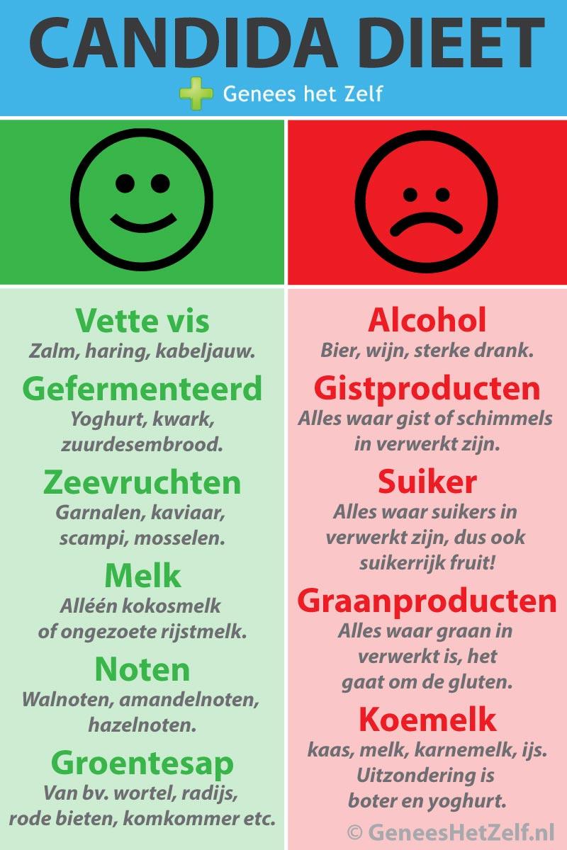 infographic candida dieet - Genees Je Zelf
